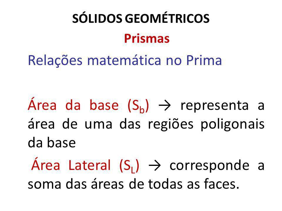 SÓLIDOS GEOMÉTRICOS Prismas Relações matemática no Prima Área da base (S b ) representa a área de uma das regiões poligonais da base Área Lateral (S L ) corresponde a soma das áreas de todas as faces.