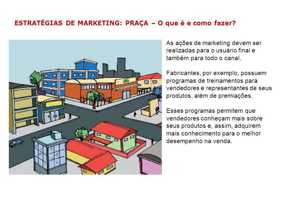 ESTRATÉGIAS DE MARKETING: PRAÇA – O que é e como fazer? As ações de marketing devem ser realizadas para o usuário final e também para todo o canal. Fa