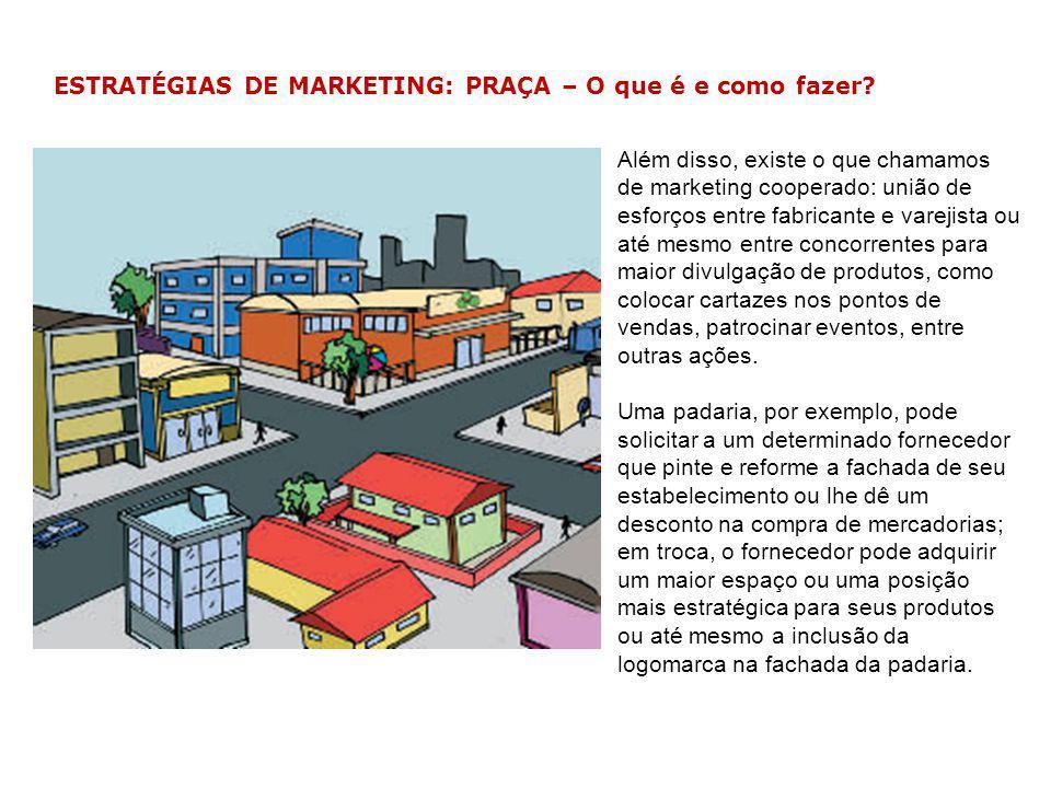 ESTRATÉGIAS DE MARKETING: PRAÇA – O que é e como fazer? Além disso, existe o que chamamos de marketing cooperado: união de esforços entre fabricante e
