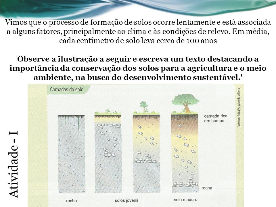 Vimos que o processo de formação de solos ocorre lentamente e está associada a alguns fatores, principalmente ao clima e às condições de relevo.
