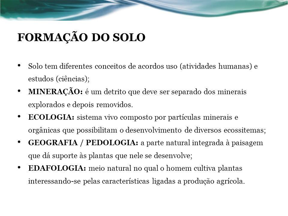 FORMAÇÃO DO SOLO Solo tem diferentes conceitos de acordos uso (atividades humanas) e estudos (ciências); MINERAÇÃO: é um detrito que deve ser separado dos minerais explorados e depois removidos.