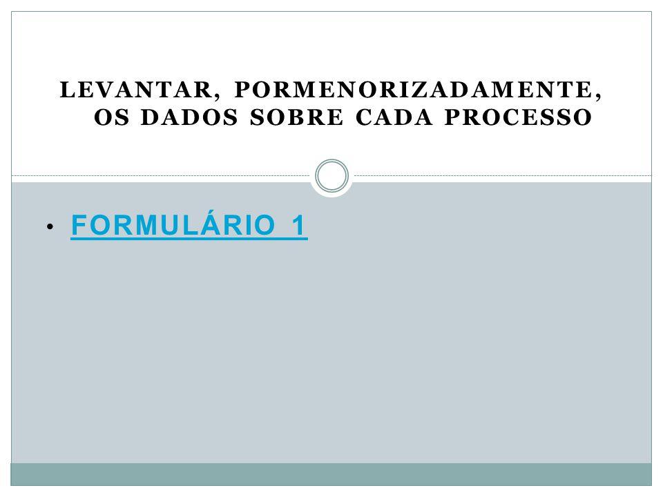 FORMULÁRIO 1 FORMULÁRIO 1 LEVANTAR, PORMENORIZADAMENTE, OS DADOS SOBRE CADA PROCESSO