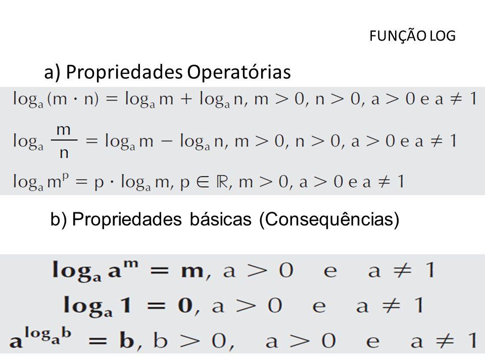 FUNÇÃO LOG a) Propriedades Operatórias b) Propriedades básicas (Consequências)