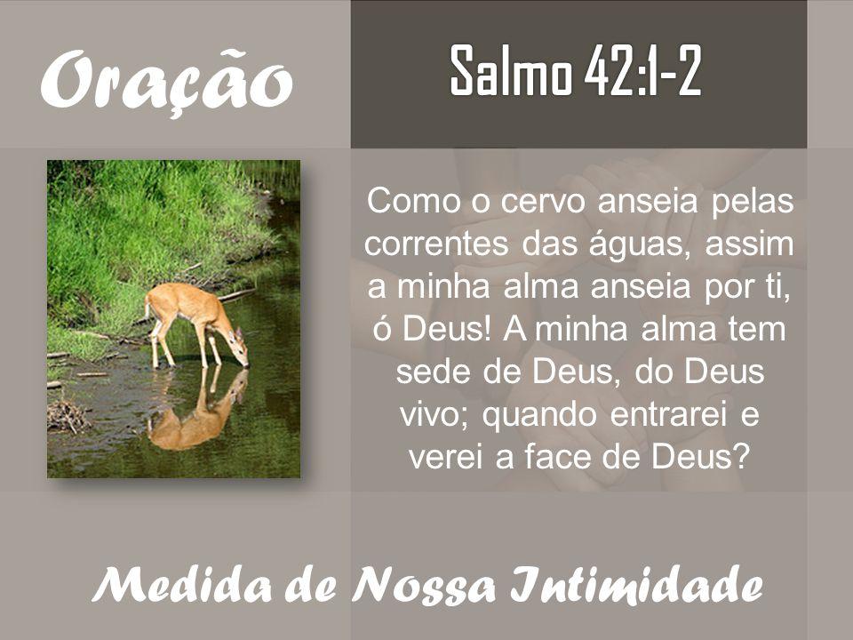 Oração Como o cervo anseia pelas correntes das águas, assim a minha alma anseia por ti, ó Deus! A minha alma tem sede de Deus, do Deus vivo; quando en