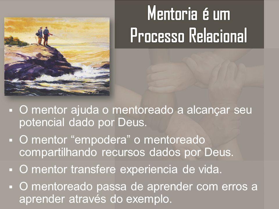 O mentor ajuda o mentoreado a alcançar seu potencial dado por Deus. O mentor empodera o mentoreado compartilhando recursos dados por Deus. O mentor tr