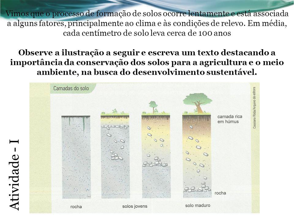 Vimos que o processo de formação de solos ocorre lentamente e está associada a alguns fatores, principalmente ao clima e às condições de relevo. Em mé