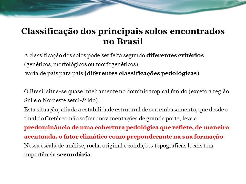Classificação dos principais solos encontrados no Brasil A classificação dos solos pode ser feita segundo diferentes critérios (genéticos, morfológico