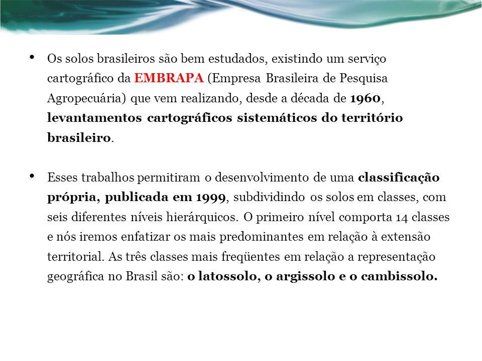 Os solos brasileiros são bem estudados, existindo um serviço cartográfico da EMBRAPA (Empresa Brasileira de Pesquisa Agropecuária) que vem realizando,
