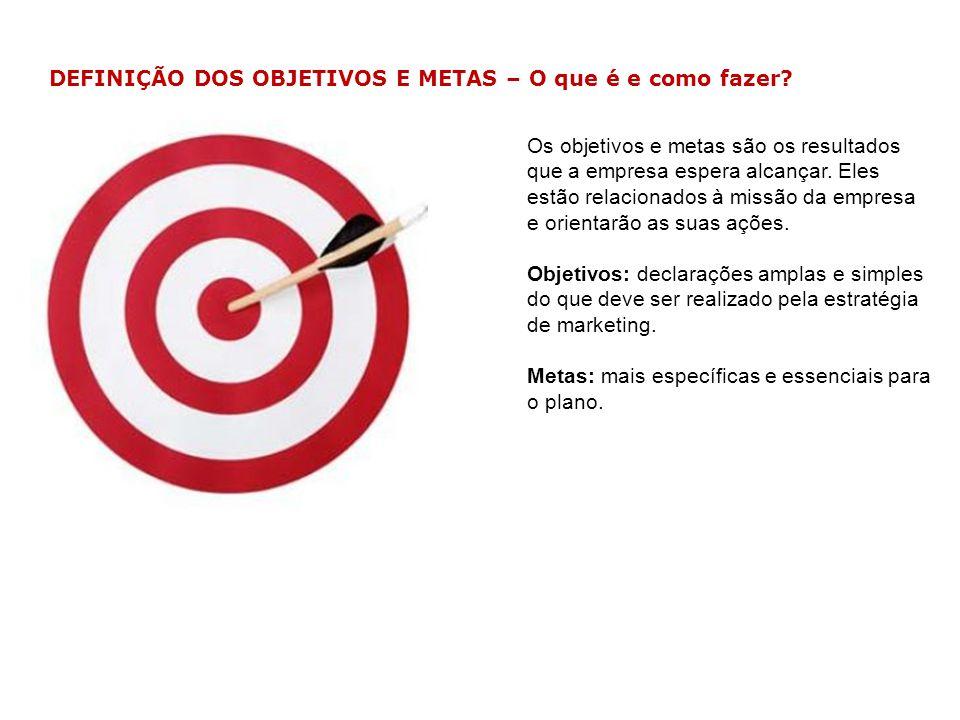 Os objetivos e metas são os resultados que a empresa espera alcançar. Eles estão relacionados à missão da empresa e orientarão as suas ações. Objetivo