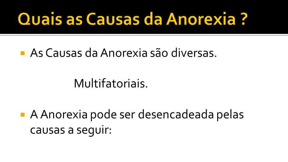 As Causas da Anorexia são diversas. Multifatoriais. A Anorexia pode ser desencadeada pelas causas a seguir: