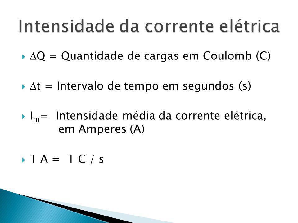 Q = Quantidade de cargas em Coulomb (C) t = Intervalo de tempo em segundos (s) I m = Intensidade média da corrente elétrica, em Amperes (A) 1 A = 1 C