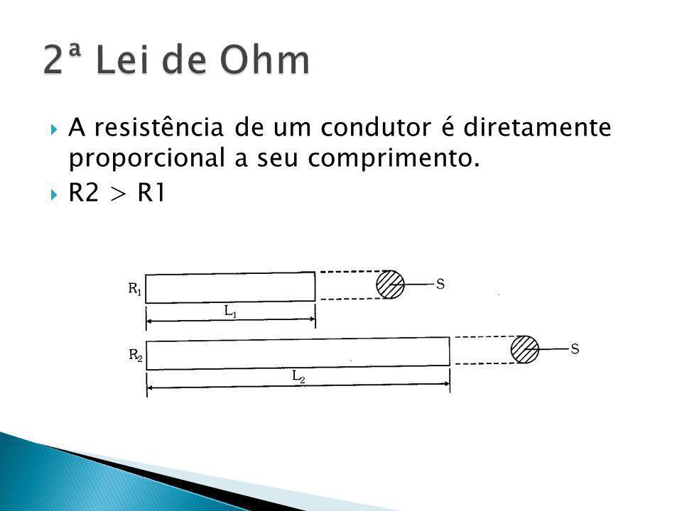 A resistência de um condutor é diretamente proporcional a seu comprimento. R2 > R1