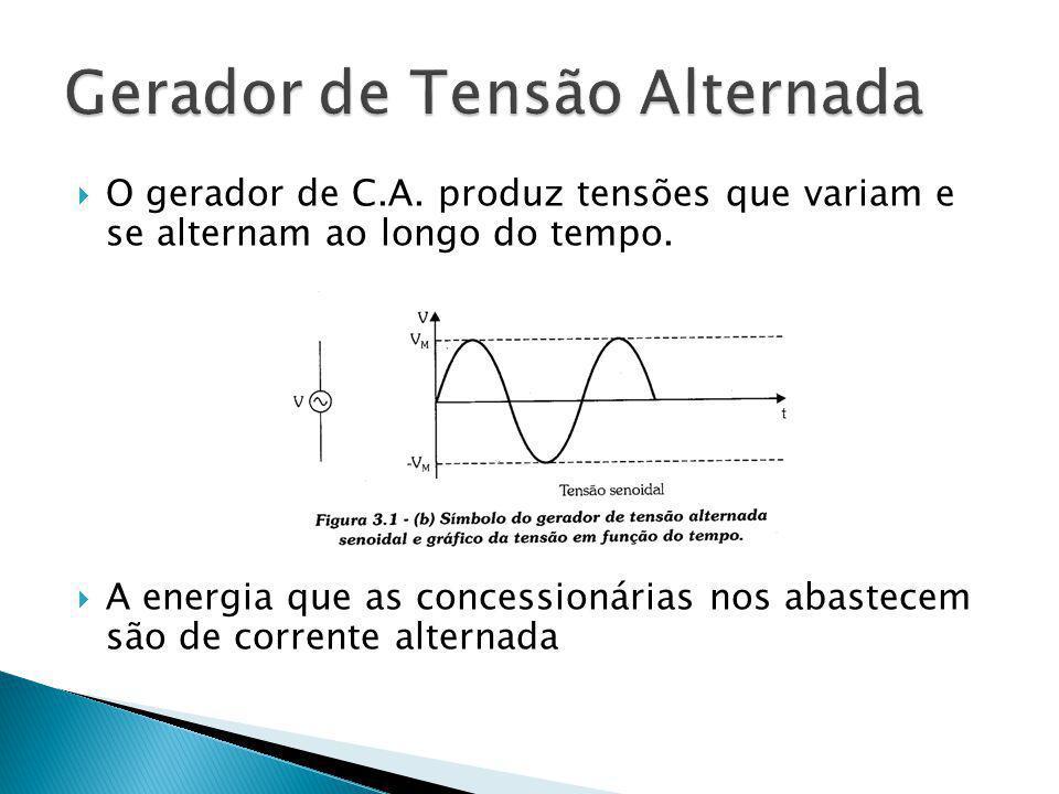 O gerador de C.A. produz tensões que variam e se alternam ao longo do tempo. A energia que as concessionárias nos abastecem são de corrente alternada
