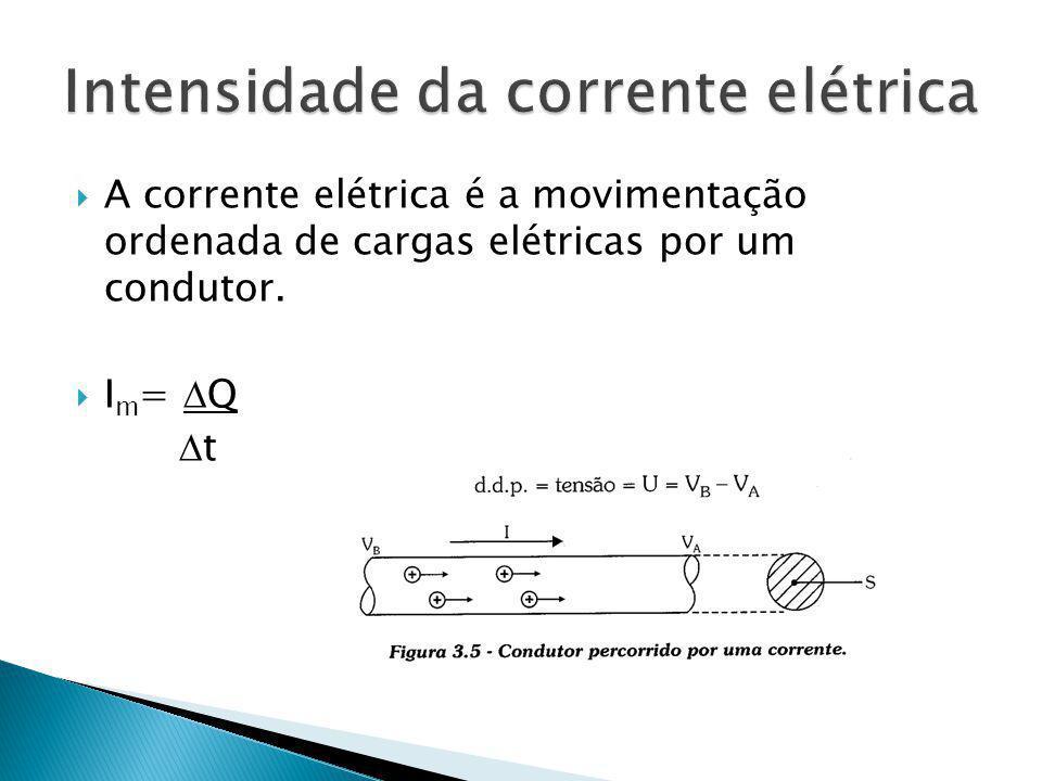 A corrente elétrica é a movimentação ordenada de cargas elétricas por um condutor. I m = Q t