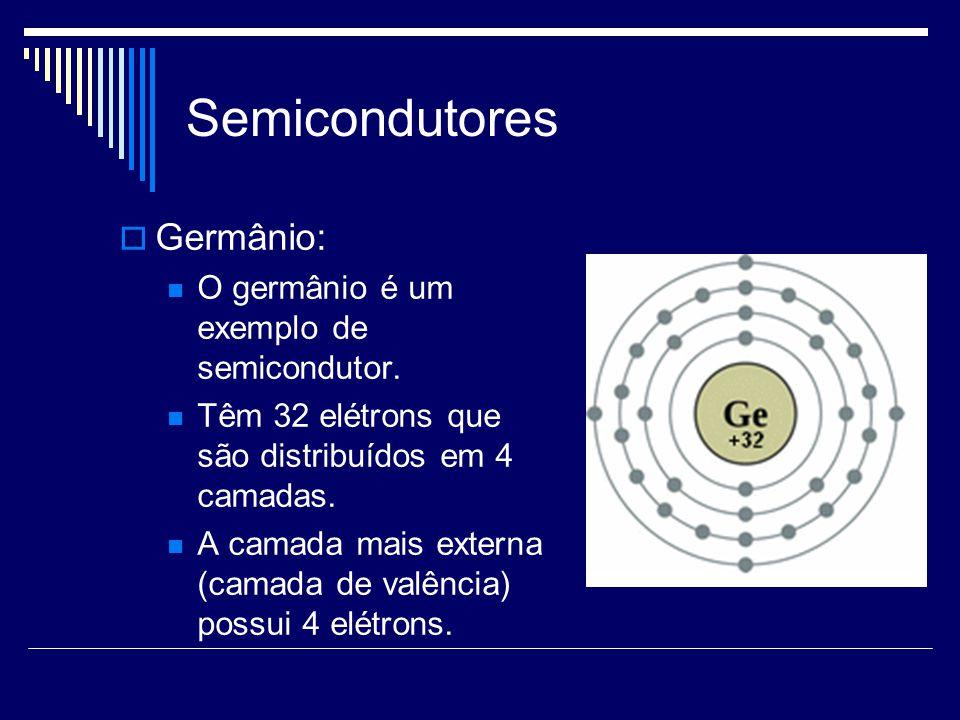 Semicondutores Germânio: O germânio é um exemplo de semicondutor. Têm 32 elétrons que são distribuídos em 4 camadas. A camada mais externa (camada de