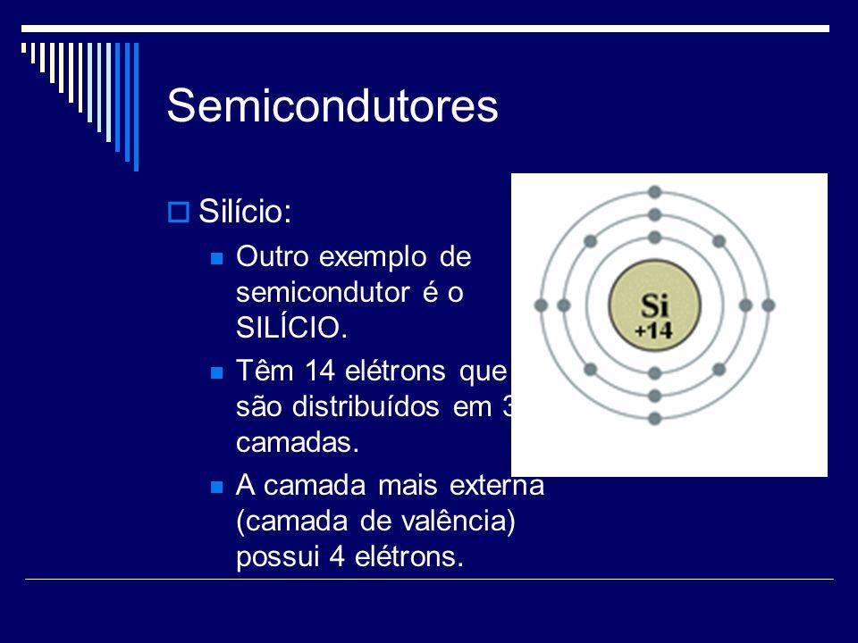 Semicondutores Silício: Outro exemplo de semicondutor é o SILÍCIO. Têm 14 elétrons que são distribuídos em 3 camadas. A camada mais externa (camada de