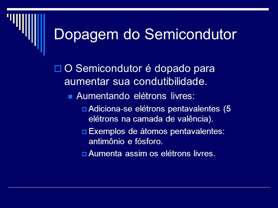 Dopagem do Semicondutor O Semicondutor é dopado para aumentar sua condutibilidade. Aumentando elétrons livres: Adiciona-se elétrons pentavalentes (5 e