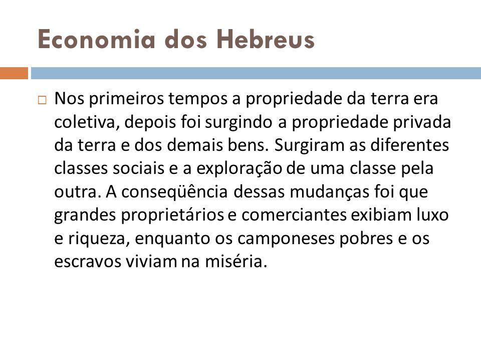 Economia dos Hebreus Nos primeiros tempos a propriedade da terra era coletiva, depois foi surgindo a propriedade privada da terra e dos demais bens. S