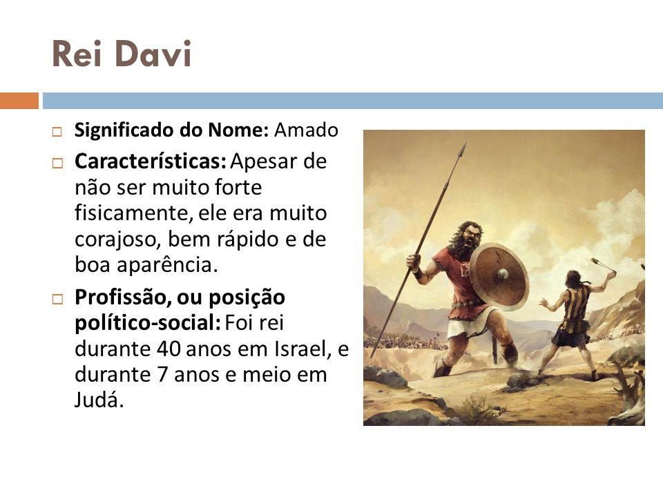 Rei Davi Significado do Nome: Amado Características: Apesar de não ser muito forte fisicamente, ele era muito corajoso, bem rápido e de boa aparência.