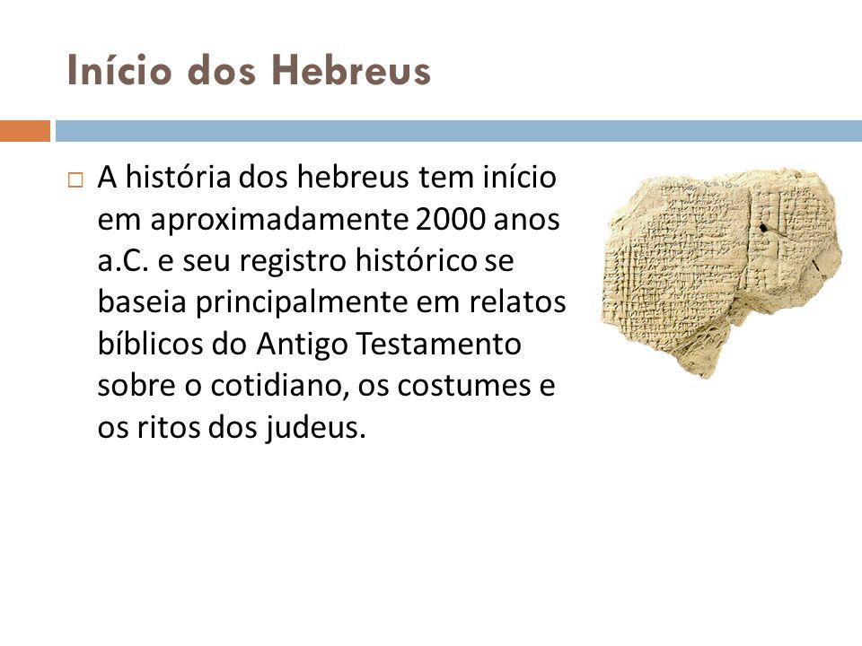 Início dos Hebreus A história dos hebreus tem início em aproximadamente 2000 anos a.C. e seu registro histórico se baseia principalmente em relatos bí