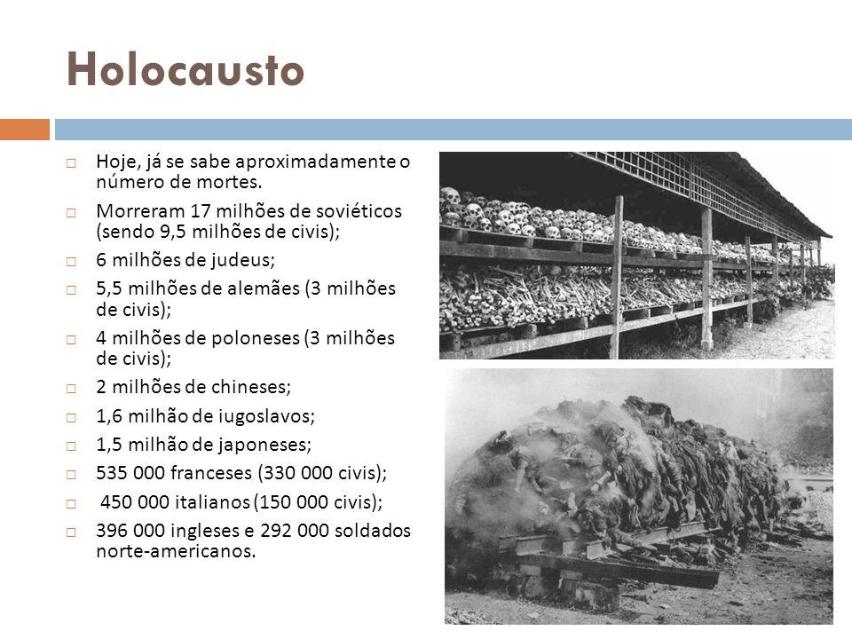 Holocausto Hoje, já se sabe aproximadamente o número de mortes. Morreram 17 milhões de soviéticos (sendo 9,5 milhões de civis); 6 milhões de judeus; 5