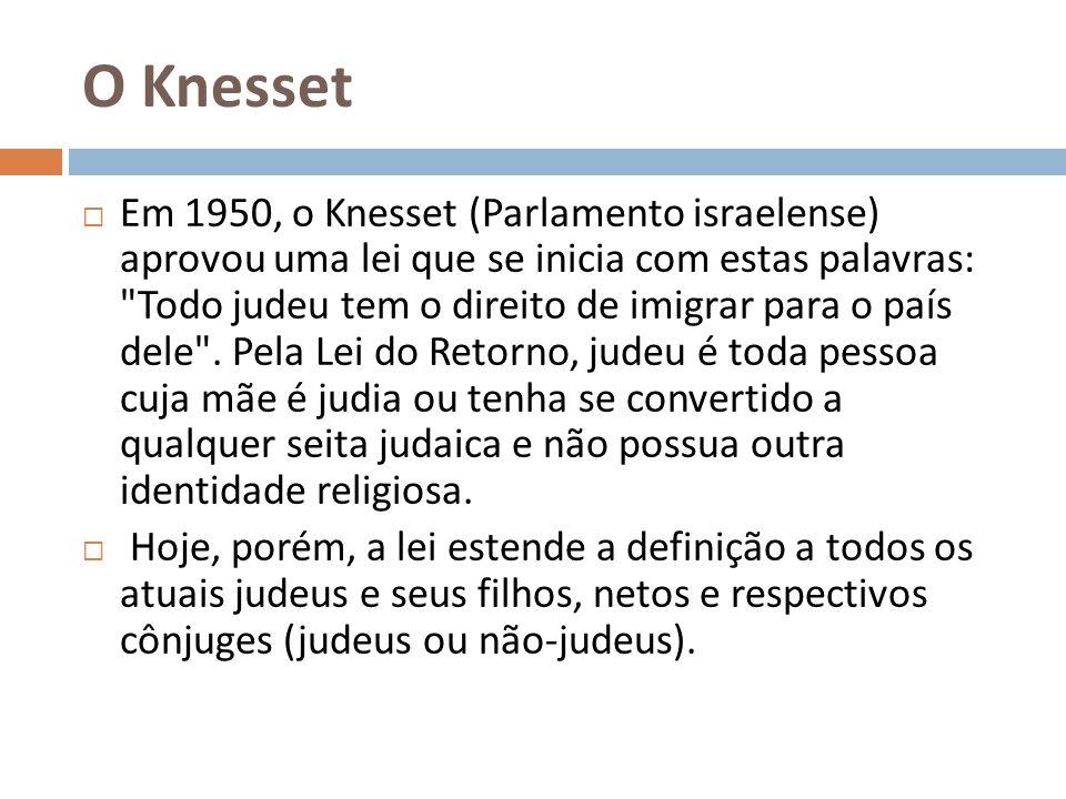 O Knesset Em 1950, o Knesset (Parlamento israelense) aprovou uma lei que se inicia com estas palavras: