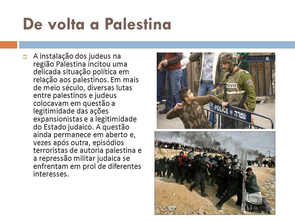 De volta a Palestina A instalação dos judeus na região Palestina incitou uma delicada situação política em relação aos palestinos. Em mais de meio séc