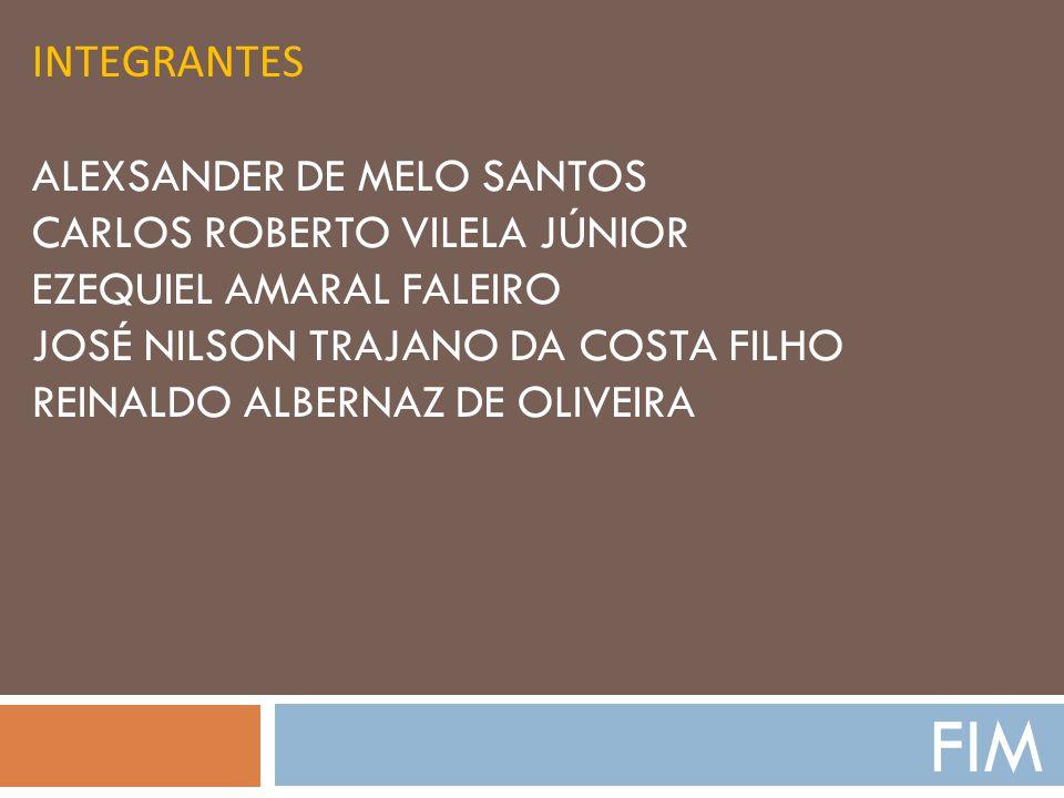 INTEGRANTES ALEXSANDER DE MELO SANTOS CARLOS ROBERTO VILELA JÚNIOR EZEQUIEL AMARAL FALEIRO JOSÉ NILSON TRAJANO DA COSTA FILHO REINALDO ALBERNAZ DE OLI
