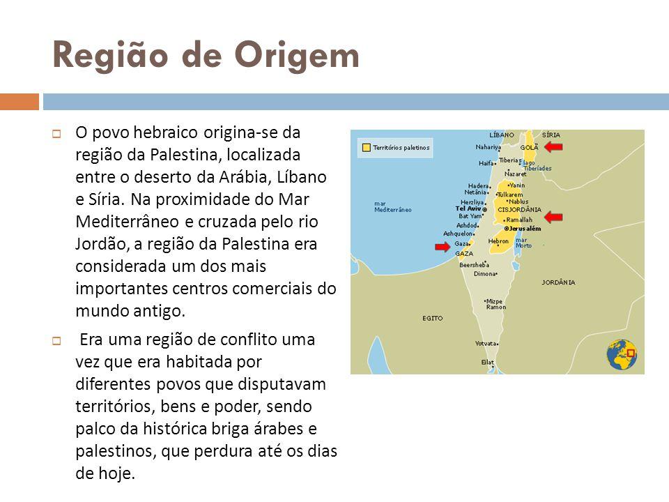 Região de Origem O povo hebraico origina-se da região da Palestina, localizada entre o deserto da Arábia, Líbano e Síria. Na proximidade do Mar Medite