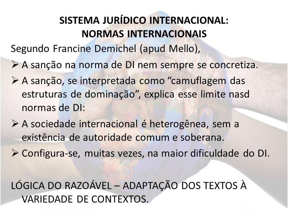 SISTEMA JURÍDICO INTERNACIONAL: NORMAS INTERNACIONAIS Segundo Francine Demichel (apud Mello), A sanção na norma de DI nem sempre se concretiza.