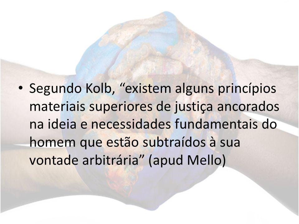 Segundo Kolb, existem alguns princípios materiais superiores de justiça ancorados na ideia e necessidades fundamentais do homem que estão subtraídos à sua vontade arbitrária (apud Mello)