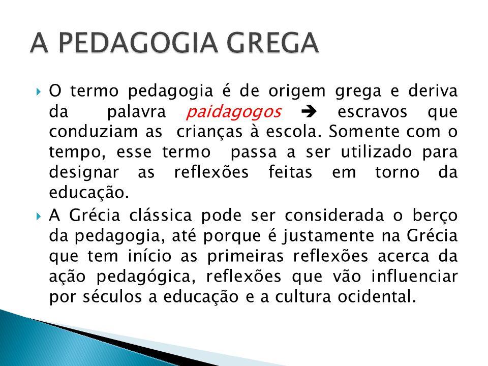 O termo pedagogia é de origem grega e deriva da palavra paidagogos escravos que conduziam as crianças à escola. Somente com o tempo, esse termo passa