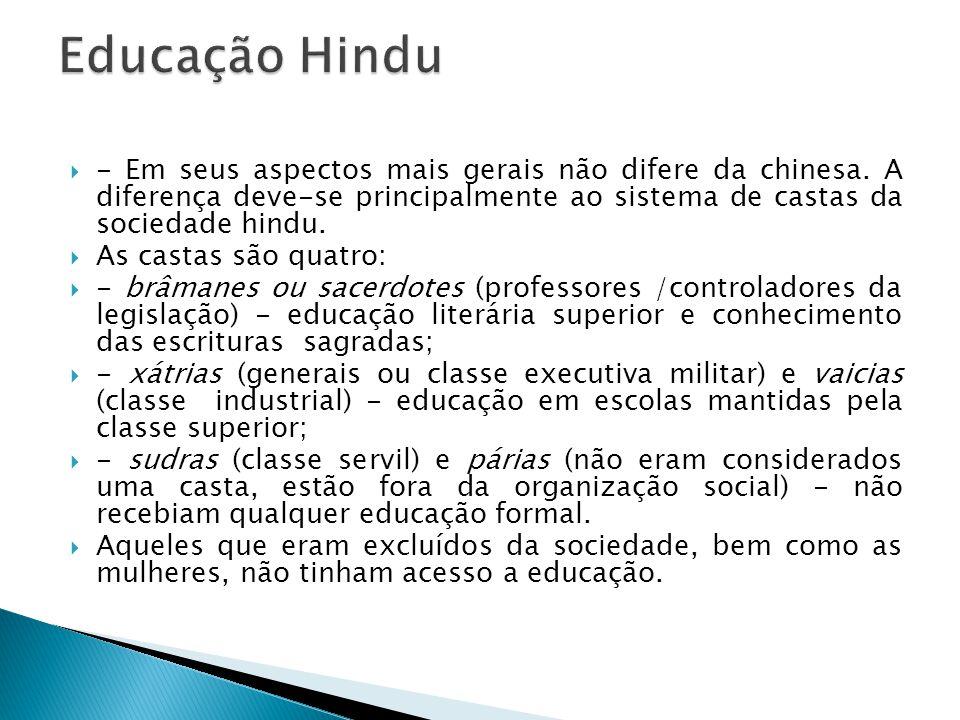 - Em seus aspectos mais gerais não difere da chinesa. A diferença deve-se principalmente ao sistema de castas da sociedade hindu. As castas são quatro