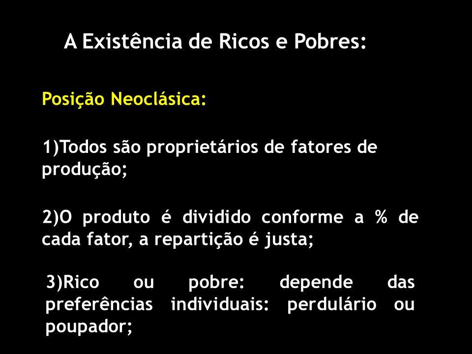 A Existência de Ricos e Pobres: Posição Neoclásica: 1)Todos são proprietários de fatores de produção; 2)O produto é dividido conforme a % de cada fator, a repartição é justa; 3)Rico ou pobre: depende das preferências individuais: perdulário ou poupador;