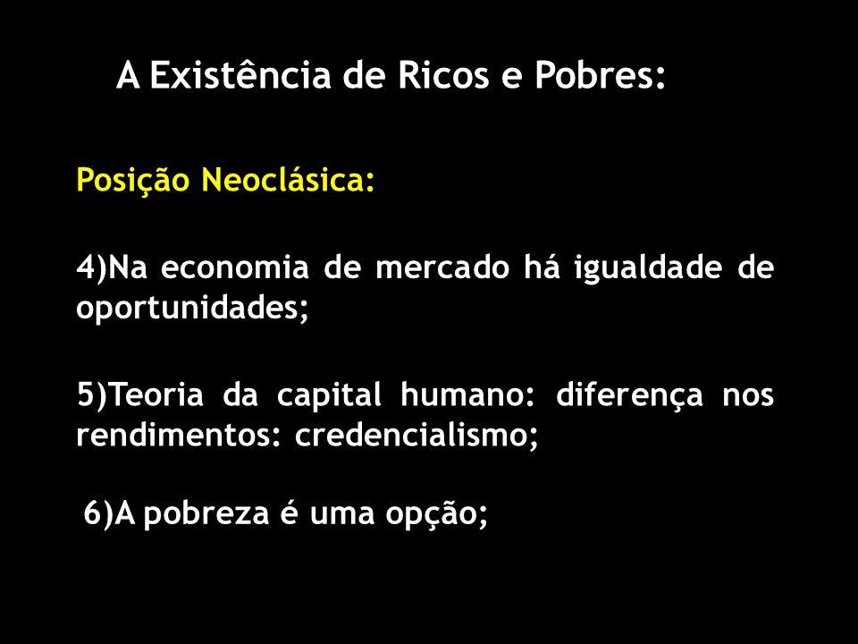 A Existência de Ricos e Pobres: Posição Neoclásica: 4)Na economia de mercado há igualdade de oportunidades; 5)Teoria da capital humano: diferença nos