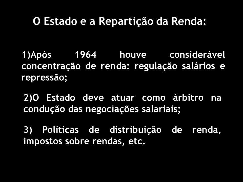 O Estado e a Repartição da Renda: 1)Após 1964 houve considerável concentração de renda: regulação salários e repressão; 2)O Estado deve atuar como árbitro na condução das negociações salariais; 3) Políticas de distribuição de renda, impostos sobre rendas, etc.