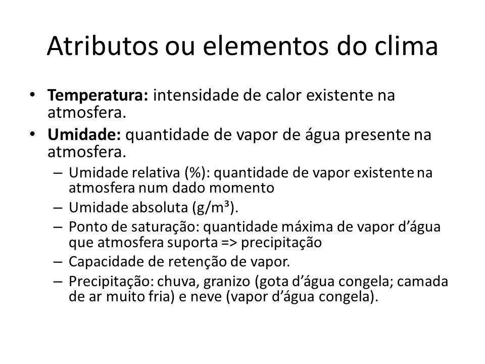 Atributos ou elementos do clima Temperatura: intensidade de calor existente na atmosfera. Umidade: quantidade de vapor de água presente na atmosfera.