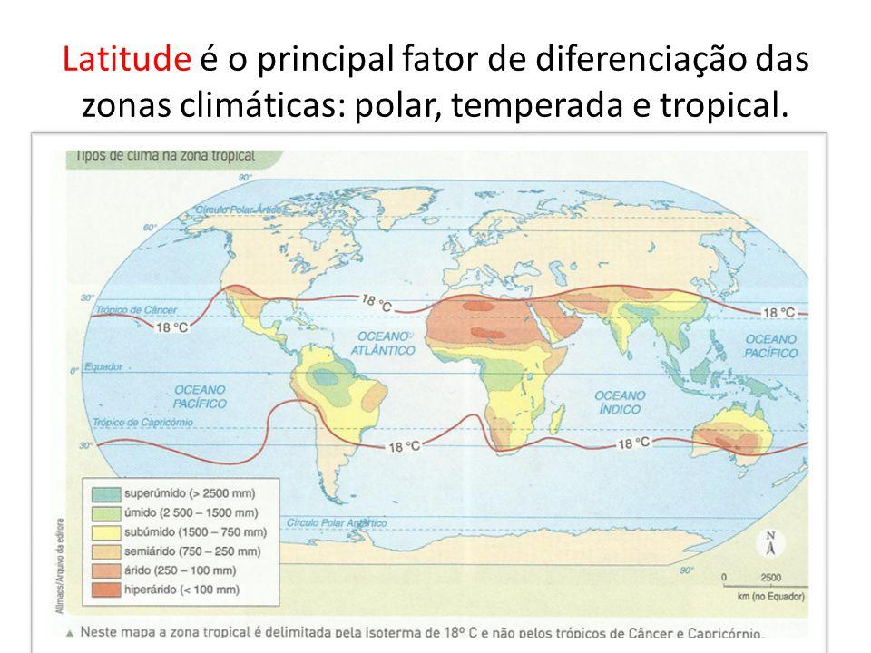 Temperatura e latitude Obs.: altitude!
