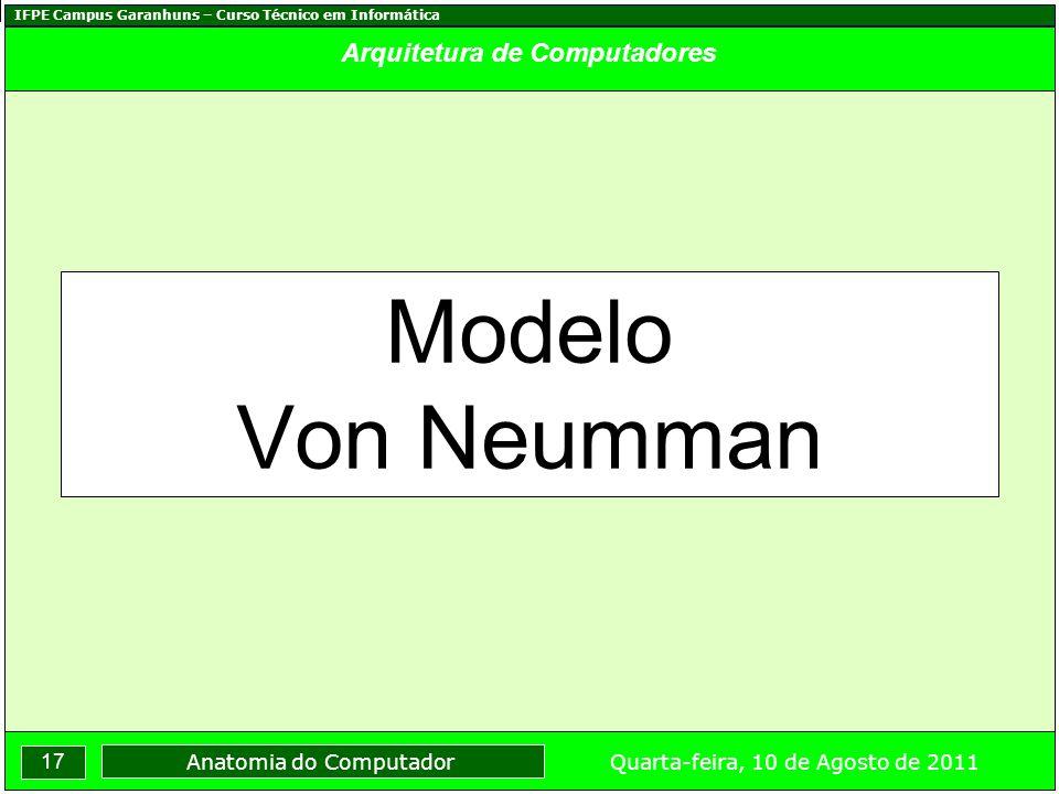 IFPE Campus Garanhuns – Curso Técnico em Informática 17 Quarta-feira, 10 de Agosto de 2011 Anatomia do Computador Arquitetura de Computadores Modelo Von Neumman