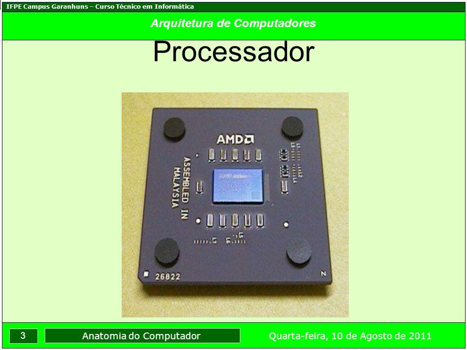 IFPE Campus Garanhuns – Curso Técnico em Informática 4 Quarta-feira, 10 de Agosto de 2011 Anatomia do Computador Arquitetura de Computadores Memória RAM