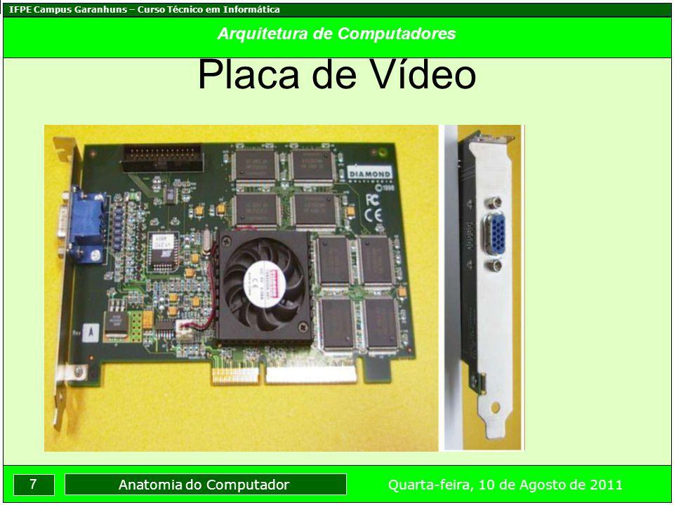 IFPE Campus Garanhuns – Curso Técnico em Informática 8 Quarta-feira, 10 de Agosto de 2011 Anatomia do Computador Arquitetura de Computadores Placa Fax-Modem