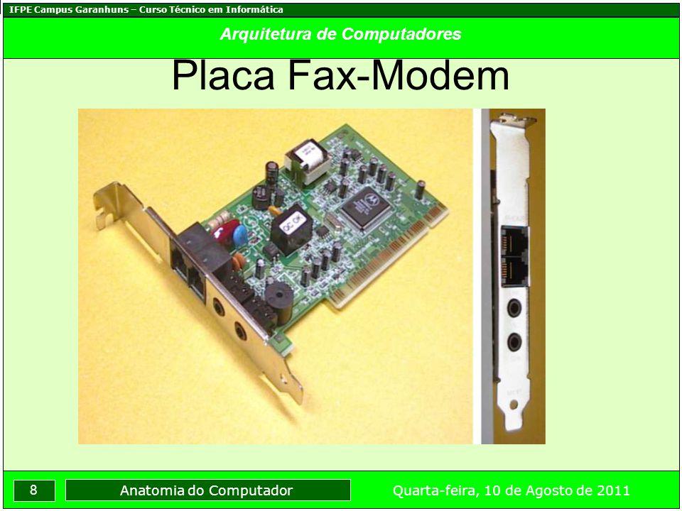 IFPE Campus Garanhuns – Curso Técnico em Informática 9 Quarta-feira, 10 de Agosto de 2011 Anatomia do Computador Arquitetura de Computadores CD-Rom