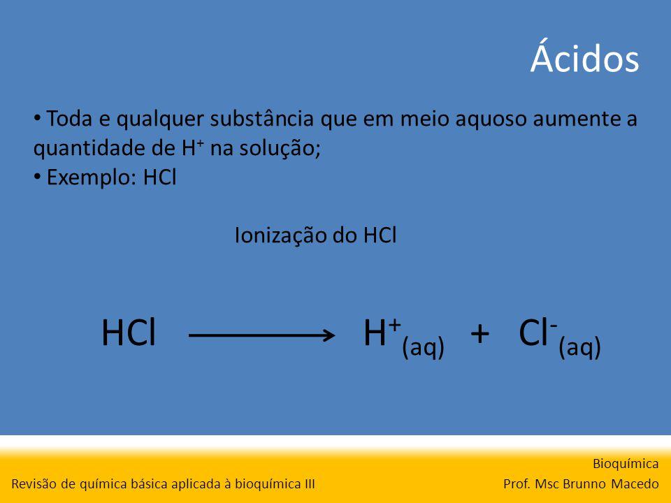 Ácidos Bioquímica Prof. Msc Brunno Macedo Revisão de química básica aplicada à bioquímica III Toda e qualquer substância que em meio aquoso aumente a