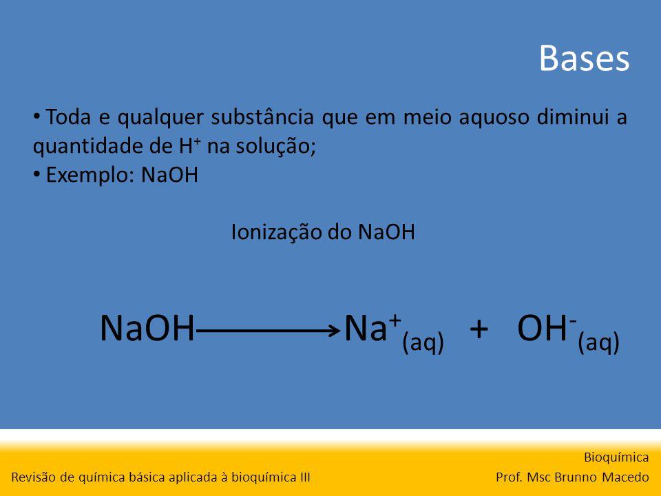 Bases Bioquímica Prof. Msc Brunno Macedo Revisão de química básica aplicada à bioquímica III Toda e qualquer substância que em meio aquoso diminui a q
