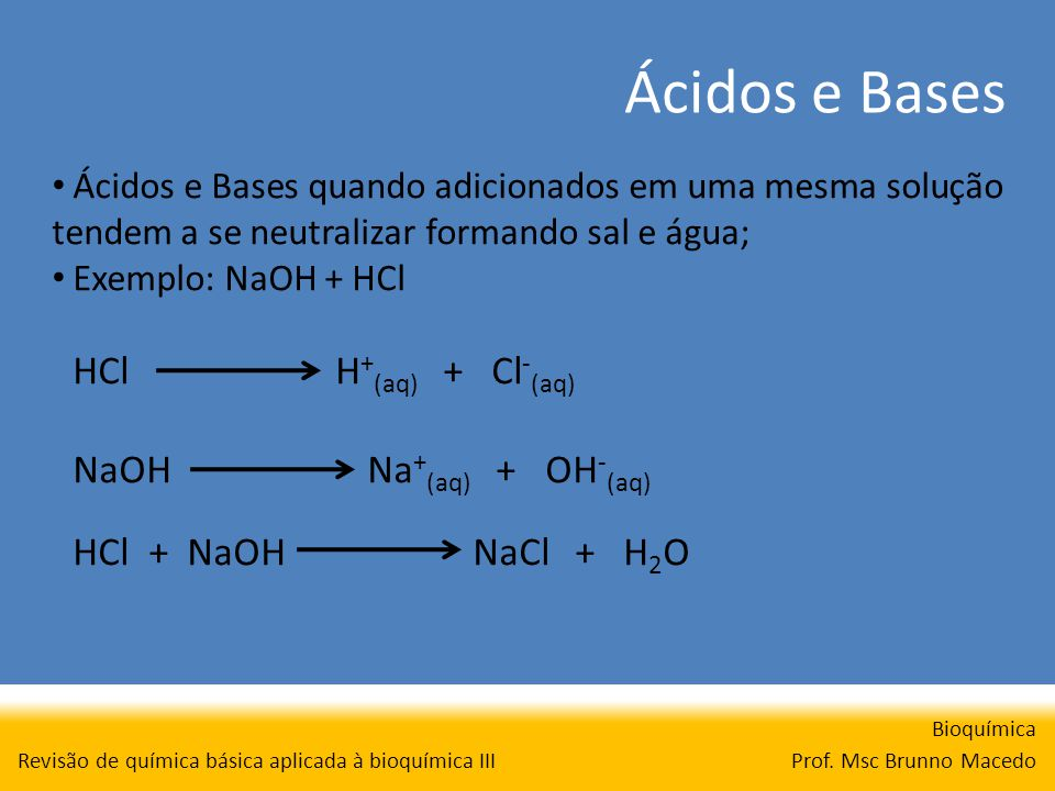 Ácidos e Bases Bioquímica Prof. Msc Brunno Macedo Revisão de química básica aplicada à bioquímica III Ácidos e Bases quando adicionados em uma mesma s