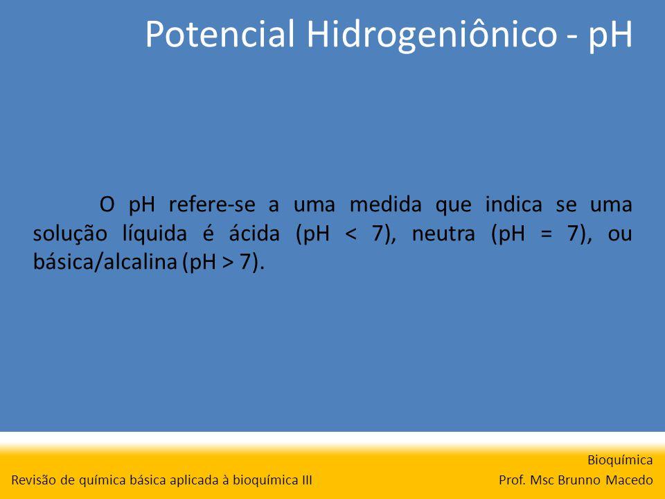Potencial Hidrogeniônico - pH Bioquímica Prof. Msc Brunno Macedo Revisão de química básica aplicada à bioquímica III O pH refere-se a uma medida que i