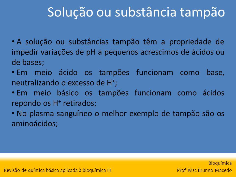 Solução ou substância tampão Bioquímica Prof. Msc Brunno Macedo Revisão de química básica aplicada à bioquímica III A solução ou substâncias tampão tê