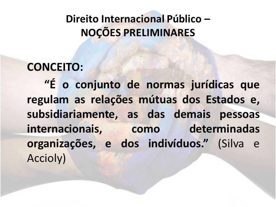 DIP – NOÇÕES PRELIMINARES CONCEITO: É o conjunto de normas que regula as relações externas dos atores que compõem a sociedade internacional.
