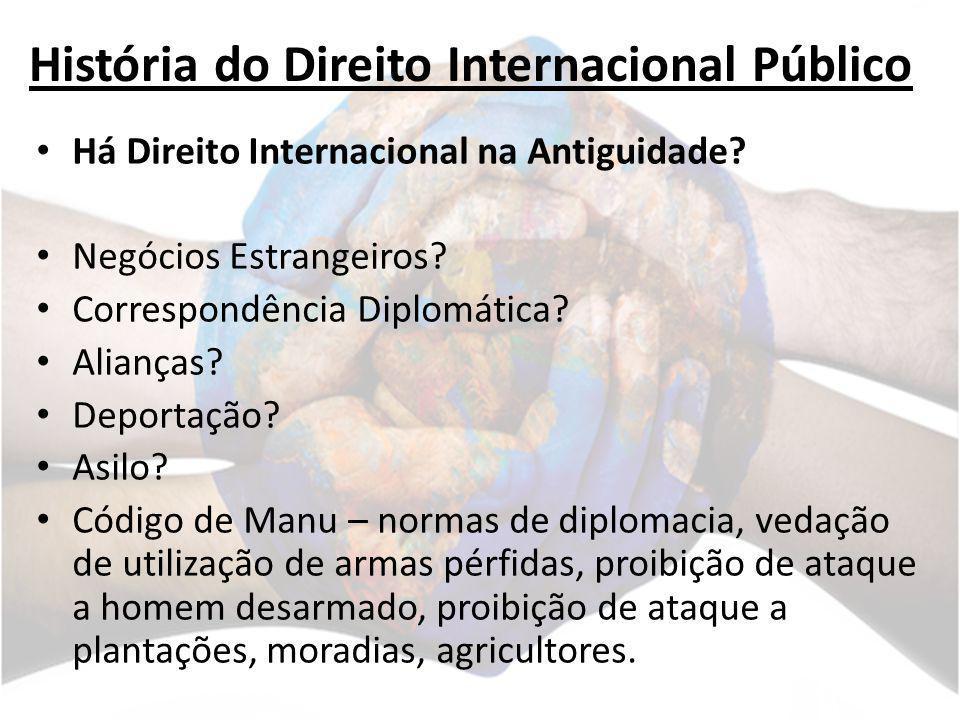História do Direito Internacional Público Há Direito Internacional na Antiguidade? Negócios Estrangeiros? Correspondência Diplomática? Alianças? Depor
