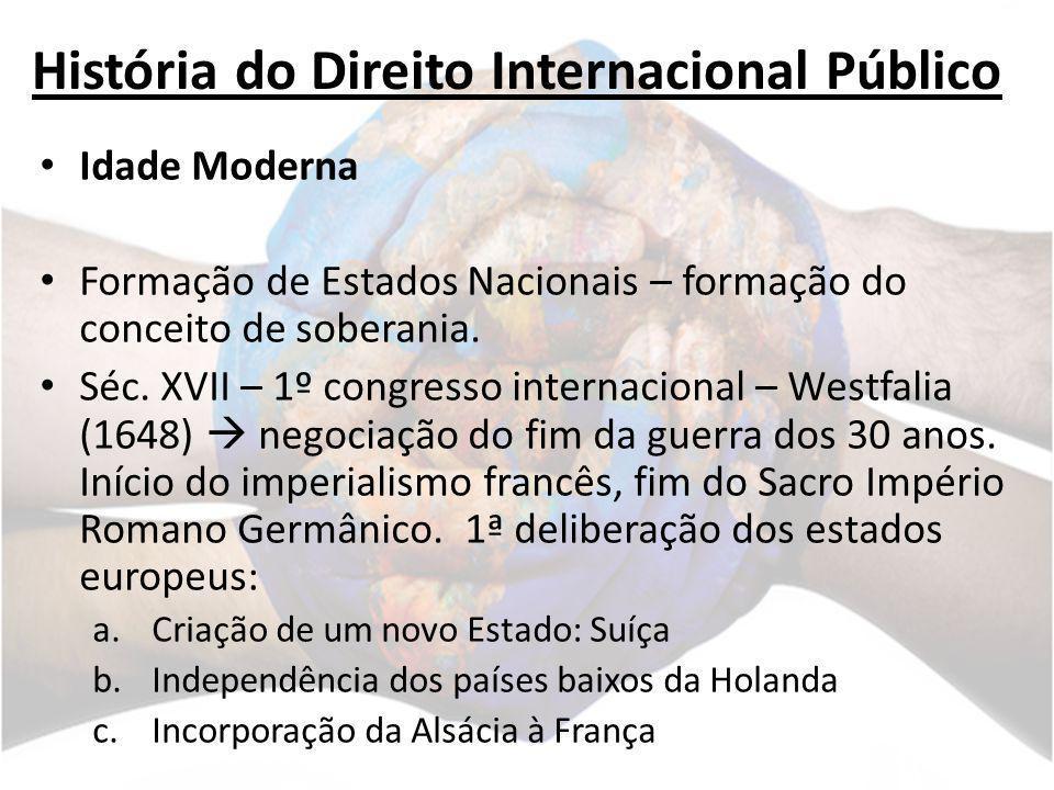 História do Direito Internacional Público Idade Moderna Formação de Estados Nacionais – formação do conceito de soberania. Séc. XVII – 1º congresso in